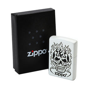 Zippo 28770 Flaming Skull Lighter in Black Presentation Box, Matte White Thumbnail 3