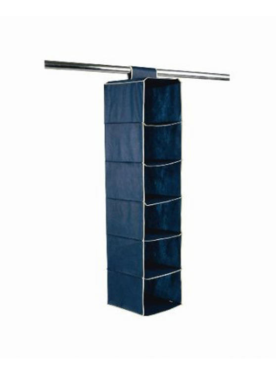 H & L Russel WS7102 Six Pocket Wardrobe Organiser with Trim, Marine Blue