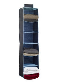 H & L Russel WS7102 Six Pocket Wardrobe Organiser with Trim, Marine Blue Thumbnail 2