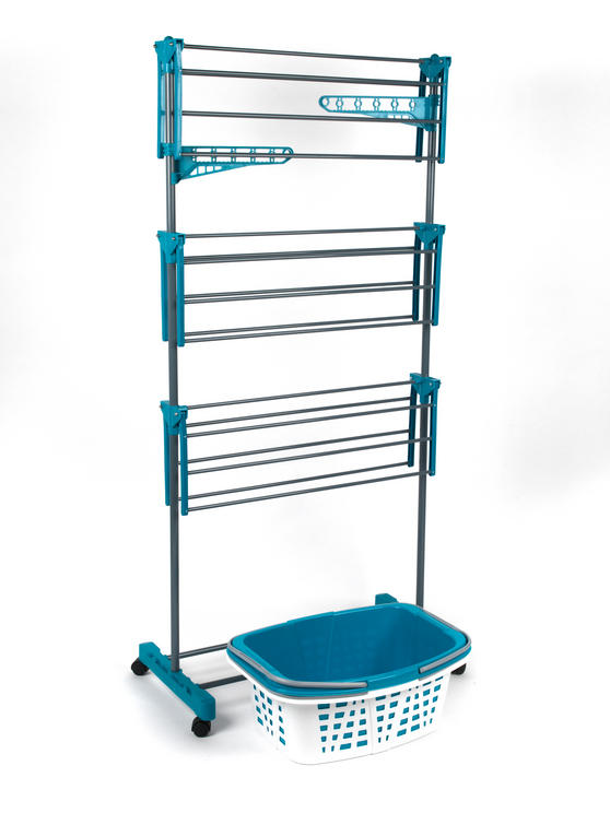 Beldray 3-Tier Deluxe Clothes Airer and Laundry Basket Set Thumbnail 2