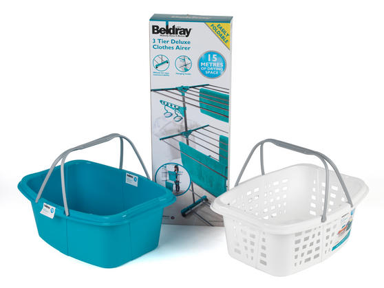 Beldray 3-Tier Deluxe Clothes Airer and Laundry Basket Set Thumbnail 7
