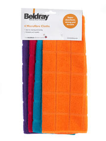 Beldray Mini Cleaning Brush and 4-Pack of Microfibre Cloths Thumbnail 4