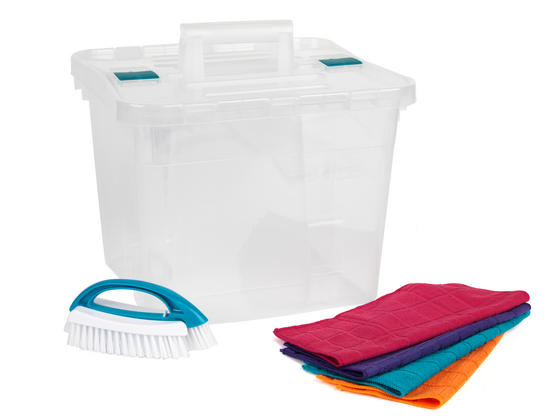 Beldray Large Clear Caddy, 2-in-1 Cleaning Brush and 4-Pack of Microfibre Cloths Cleaning Set Thumbnail 4