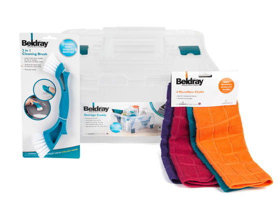 Beldray Small Clear Caddy, Mini Cleaning Brush and 4-Pack of Microfibre Cloths Cleaning Set