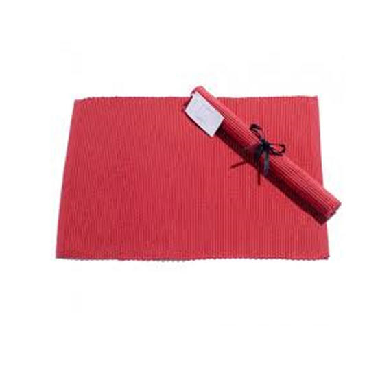 Indulje Luxury Cotton Ribbed Placemats, 30 x 40cm, Red, Set of 2