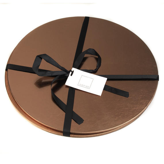 Inspire HY276674AS Luxury Round Metallic Placemats, 29cm, Faux Leather, Copper, Set of 2
