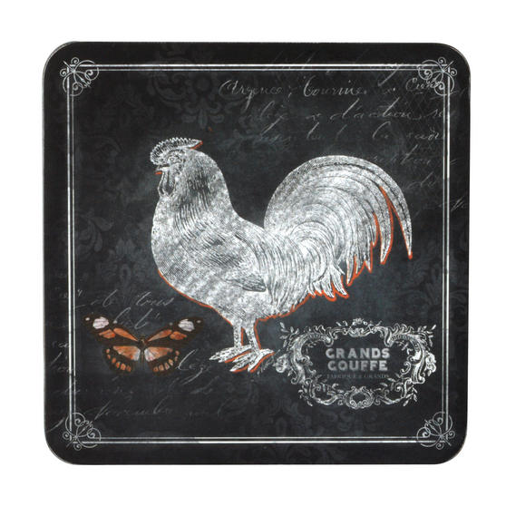 Inspire BCH281654 Luxury Chalkboard Rooster Coasters, 10.5 x 10.5cm, Hardboard, Black, Set of 4