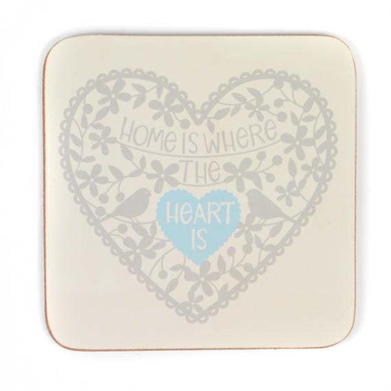 Indulje CA282590CDS Luxury Home Is Where The Heart Is Coasters, 10 x 10cm, Hardboard, Cream, Set of 4