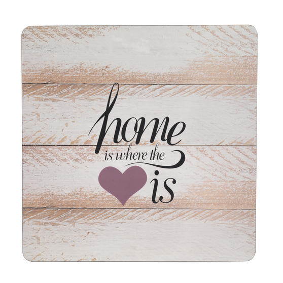 Inspire TW290359 Luxury Home Is Where The Heart Is Placemats, 29 x 29cm, Hardboard, Set of 4