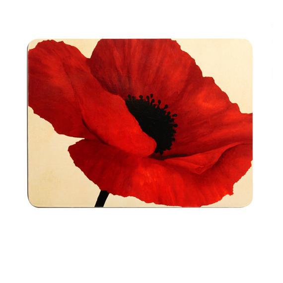 Indulje TW283351 Luxury Summer Poppy Placemats, 29 x 21.9cm, Hardboard, Red, Set of 4