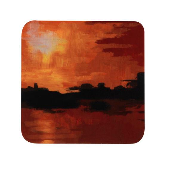 Indulje TW283412 Luxury Seaside Sunset Coasters, 10 x 10cm, Hardboard, Orange/Red, Set of 4