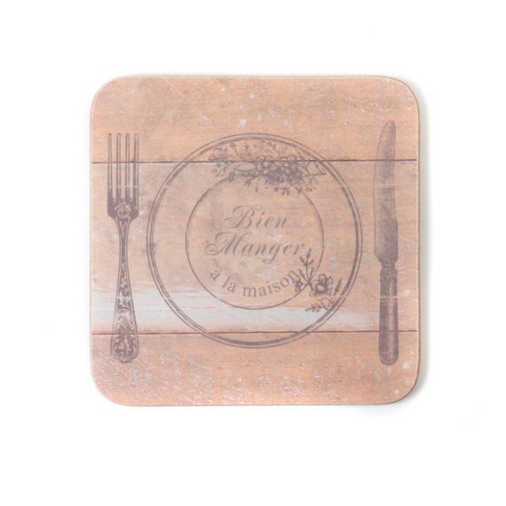 Indulje TW283573 Luxury Bien Manger Heirloom Coasters, 10 x 10cm, Hardboard, Natural, Set of 4