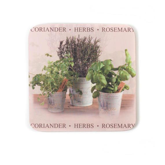 Indulje TW283733 Luxury Herbs Coasters, 10 x 10cm, Hardboard, Natural/Green, Set of 4