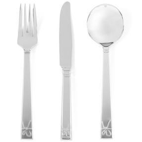 Vera Wang Love Knots Stainless Steel Starter Cutlery Set, Fork, Knife, Soup Spoon