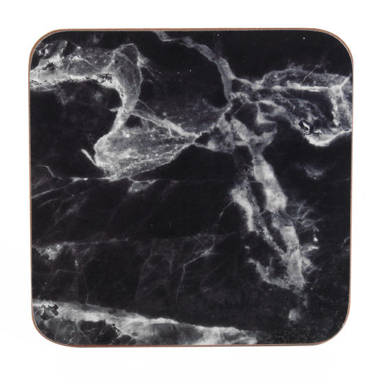Indulje UN000088 Luxury Marquina Coasters, 10 x 10cm, Hardboard, Black/White, Set of 4