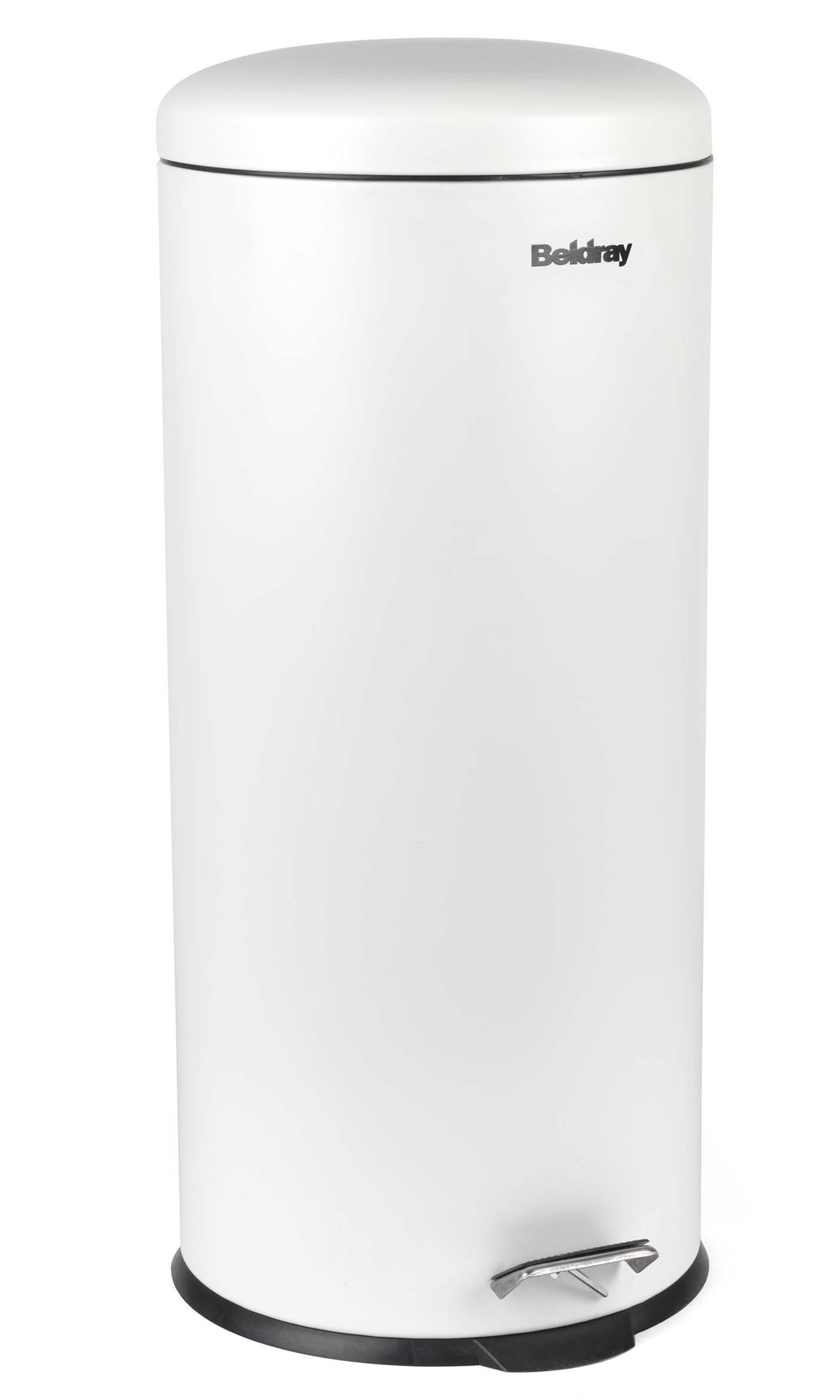 beldray la038074wht 30 litre white kitchen bin with soft. Black Bedroom Furniture Sets. Home Design Ideas