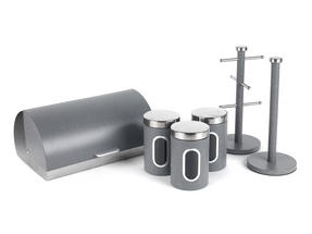 Salter Marble Collection Complete Countertop Set, Classic Bread Bin, Paper Towel Holder, Mug Tree, Canister Set, Grey