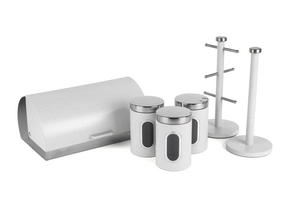 Salter Marble Collection Complete Countertop Set, Classic Bread Bin, Paper Towel Holder, Mug Tree, Canister Set, White