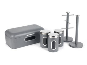 Salter Marble Collection Complete Countertop Set, Window Bread Bin, Paper Towel Holder, Mug Tree, Canister Set, Grey