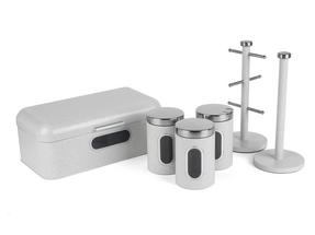 Salter Marble Collection Complete Countertop Set, Window Bread Bin, Paper Towel Holder, Mug Tree, Canister Set, White