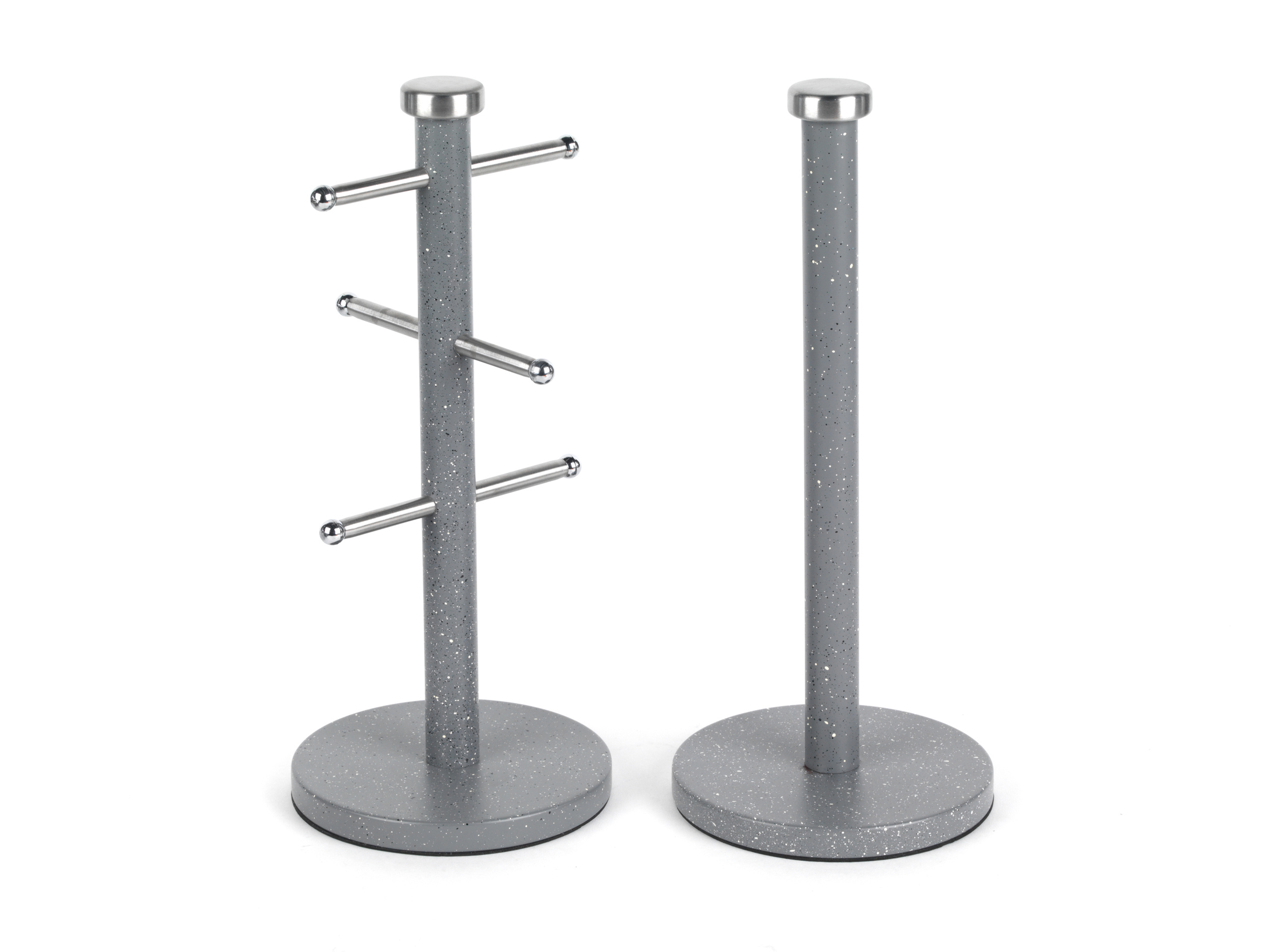 Salter Marble Collection 2 Piece Countertop Set Mug Tree And Paper Towel Holder Grey
