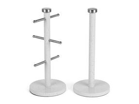 Salter Marble Collection 2 Piece Countertop Set, Mug Tree and Paper Towel Holder, White