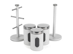 Salter Marble Collection Countertop Set, Mug Tree, Paper Towel Holder, 3 Piece Canister Set, White