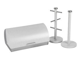 Salter Marble Collection 3 Piece Countertop Set, Classic Bread Bin, Paper Towel Holder, Mug Tree, White