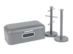 Salter Marble Collection 3 Piece Countertop Set, Window Bread Bin, Paper Towel Holder, Mug Tree, Grey