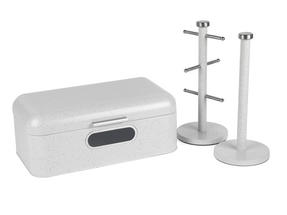 Salter Marble Collection 3 Piece Countertop Set, Window Bread Bin, Paper Towel Holder, Mug Tree, White