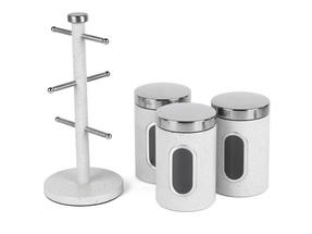 Salter Marble Collection Countertop Set, Mug Tree and 3 Piece Canister Set, White