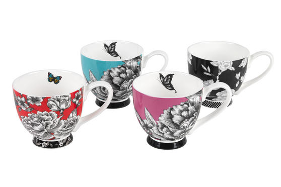 Portobello Sandringham Shaded Flowers Footed Bone China Mugs, Mixed Set of 4