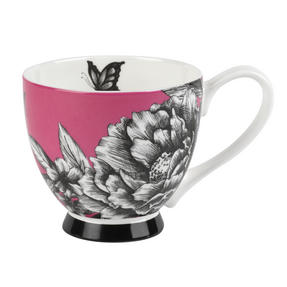 Portobello Sandringham Shaded Flowers Footed Bone China Mugs, Mixed Set of 4 Thumbnail 4