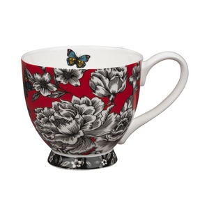Portobello Sandringham Shaded Flowers Footed Bone China Mugs, Mixed Set of 4 Thumbnail 5