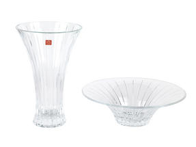 RCR Timeless Crystal Glass Centrepiece Bowl and Vase Set