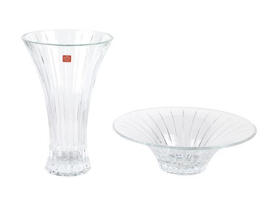 RCR Timeless Crystal Glass Centrepiece Bowl and Vase Set