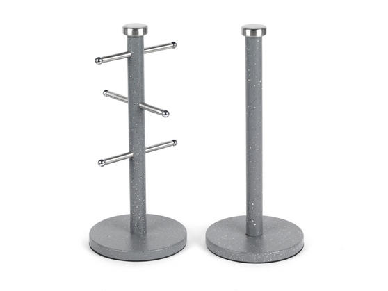 Salter Marble Collection 2 Piece Countertop Set, Mug Tree and Paper Towel Holder, Grey