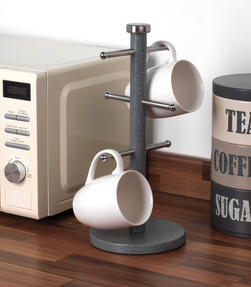 Salter Marble Collection 2 Piece Countertop Set, Mug Tree and Paper Towel Holder, Grey Thumbnail 7
