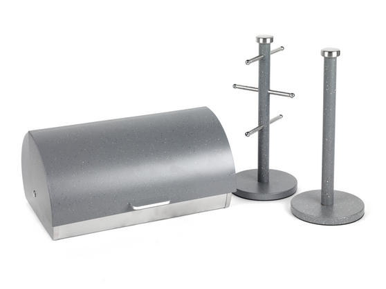 Salter Marble Collection 3 Piece Countertop Set, Classic Bread Bin, Paper Towel Holder, Mug Tree, Grey