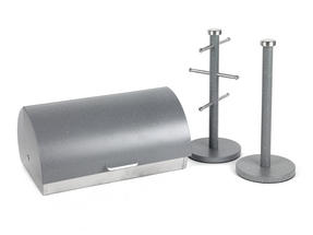 Salter Marble Collection 3 Piece Countertop Set, Classic Bread Bin, Paper Towel Holder, Mug Tree, Grey Thumbnail 1