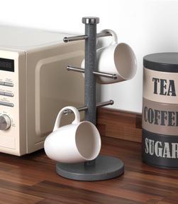 Salter Marble Collection 3 Piece Countertop Set, Window Bread Bin, Paper Towel Holder, Mug Tree, Grey Thumbnail 5