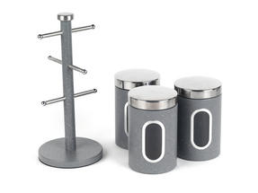 Salter Marble Collection Countertop Set, Mug Tree and 3 Piece Canister Set, Grey Thumbnail 1
