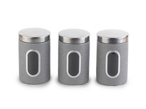 Salter Marble Collection Countertop Set, Mug Tree and 3 Piece Canister Set, Grey Thumbnail 2