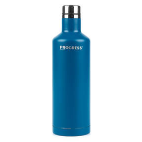 Progress BW05856B Thermal Insulated Travel Bottle with Screw Top Lid, 500 ml, Stainless Steel, Blue Thumbnail 1