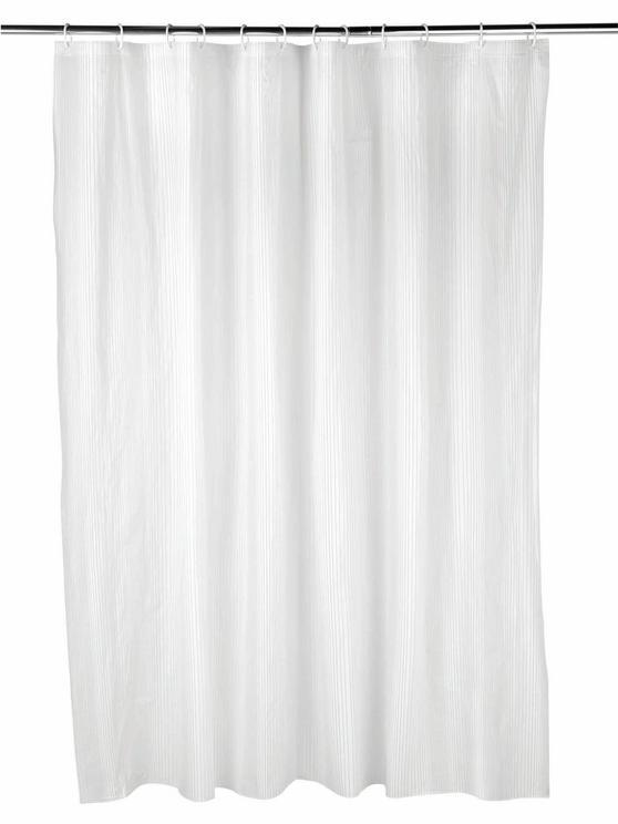 Beldray Boston Striped Shower Curtain with Hooks, 180 x 180cm, PEVA, White
