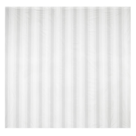 Beldray Boston Striped Shower Curtain with Hooks, 180 x 180cm, PEVA, White Thumbnail 2