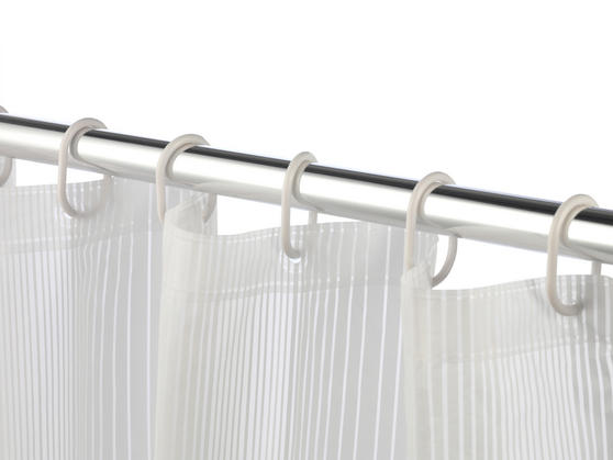 Beldray Boston Striped Shower Curtain with Hooks, 180 x 180cm, PEVA, White Thumbnail 4