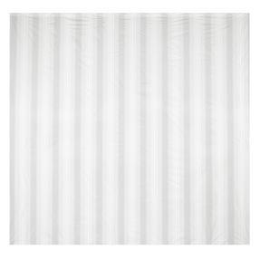 Beldray Boston Striped Shower Curtain with Hooks, 180 x 180cm, PEVA, White Thumbnail 2