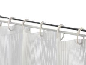 Beldray Boston Striped Shower Curtain with Hooks, 180 x 180cm, PEVA, White Thumbnail 4