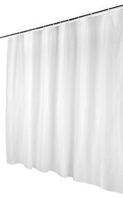 Beldray Boston Striped Shower Curtain with Hooks, 180 x 180cm, PEVA, White Thumbnail 5